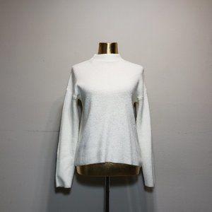 FOREVER 21 White Ribbed High Neck Sweater